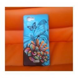 Silikon etui za Sony Xperia J,modra barva,motiv cvetovi z metulji+folija ekrana