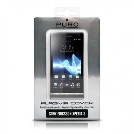 Silikon etui za Sony Xperia S,prozorna siva barva,Puro