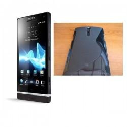 Silikon etui za Sony Xperia S,prozorna črna,motiv S