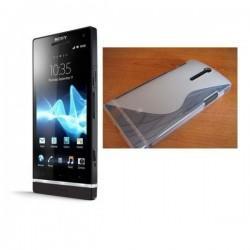 Silikon etui za Sony Xperia S,prozorna bela barva,motiv S