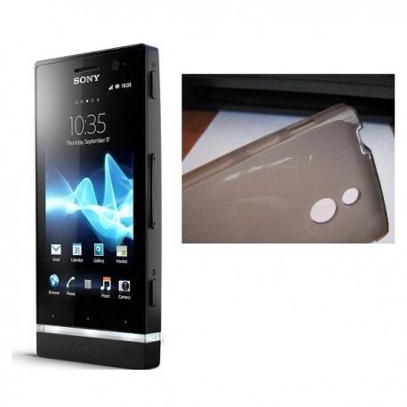Silikon etui za Sony Xperia P,prozorna siva barva