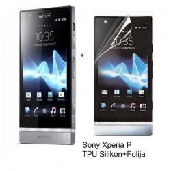 Silikon etui za Sony Xperia P,prozorna mat bela barva+folija ekrana,Jekod
