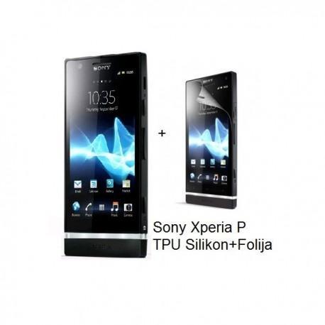 Silikon etui za Sony Xperia P,prozorna mat črna barva+folija ekrana,Jekod