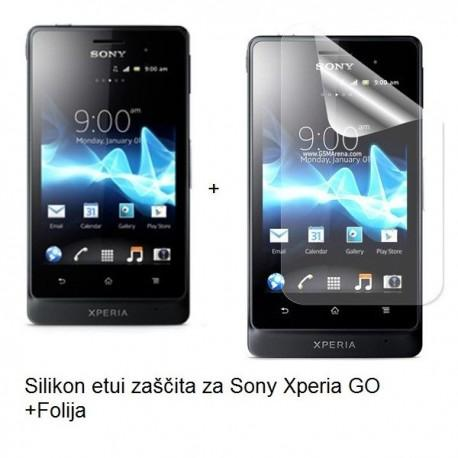 Silikon etui za Sony Xperia GO,prozorna siva barva+folija ekrana,Jekod
