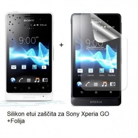 Silikon etui za Sony Xperia GO,prozorna mat bela barva+folija ekrana,Jekod
