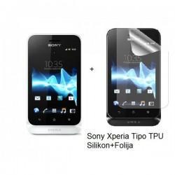 Silikon etui za Sony Xperia Tipo,prozorna mat bela barva+folija ekrana,Jekod