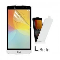 Preklopna Torbica za LG L Bello Flip+ folija ekrana Bela barva