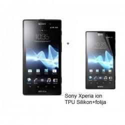 Silikon etui za Sony Xperia ion,prozorna siva barva+folija ekrana,Jekod