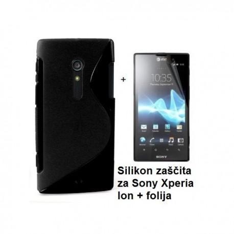 Silikon etui za Sony Xperia ion,črna barva,motiv S+folija ekrana