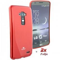 Silikon etui za LG G Flex + 2x Folija High-Quality ,Rdeča barva