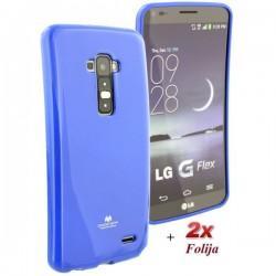 Silikon etui za LG G Flex + 2x Folija High-Quality Modra barva