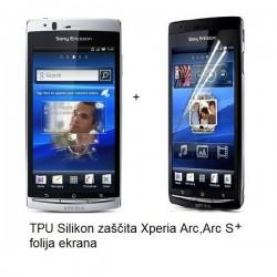 Silikon etui za Sony Xperia Arc, Arc S,prozorna mat bela barva+folija ekrana,Jekod