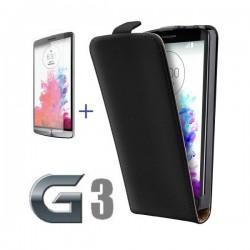 Torbica za LG G3 Preklopna +Zaščitna folija ekrana,Črna barva