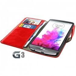 Torbica za LG G3 Preklopna Rdeča barva+Folija ekrana