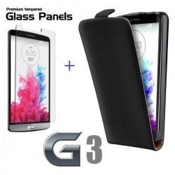 Torbica za LG G3 Preklopna +Kaljeno steklo 9H,Črna barva