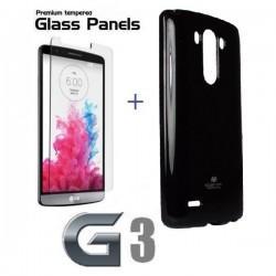 Silikon etui za LG G3 +Kaljeno steklo 9H,Črna barva