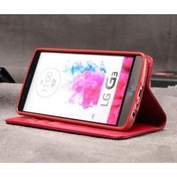 Torbica za LG G3 Preklopna Rdeča barva Usnjena