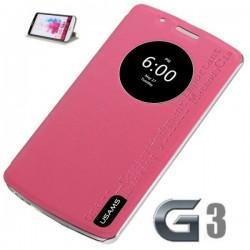 Torbica za LG G3 Preklopna S-View Pink barva