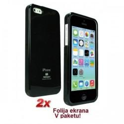 Silikon etui za Apple iPhone 5C + 2x Folija High-Quality ,Črna barva