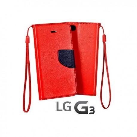 Preklopna Torbica Fancy za LG G3 Rdeča barva