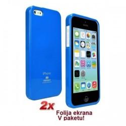 Silikon etui za Apple iPhone 5C + 2x Folija High-Quality ,Modra barva
