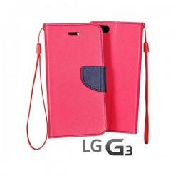 Preklopna Torbica Fancy za LG G3 Pink barva