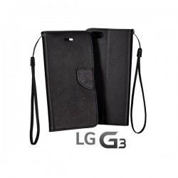 Preklopna Torbica Fancy za LG G3 Črna barva