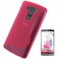 Silikon etui za LG G3 S +Folija ekrana Pink barva