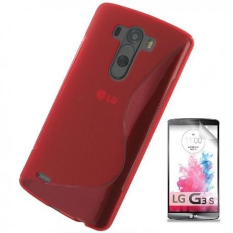 Silikon etui za LG G3 S +Folija ekrana Rdeča barva