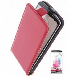 Preklopna Torbica za LG G3 S + zaščitna folija ekrana Rdeča barva