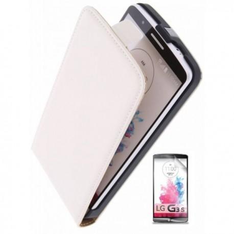 Preklopna Torbica za LG G3 S + zaščitna folija ekrana Bela barva