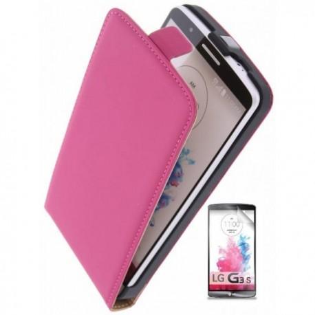 Preklopna Torbica za LG G3 S + zaščitna folija ekrana Pink barva