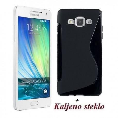 Silikon etui za Samsung Galaxy A5 TPU Črna barva+Kaljeno steklo