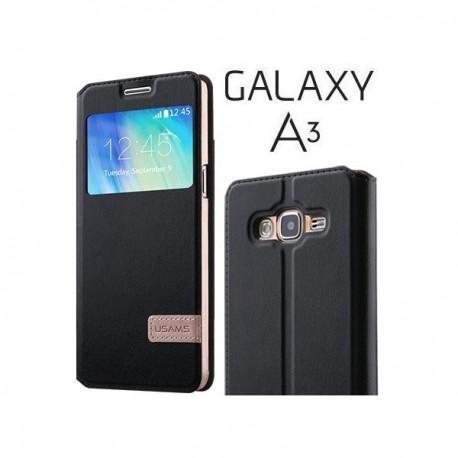Torbica USAMS za Samsung Galaxy A3 Preklopna S-View Črna barva