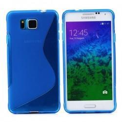 Silikon etui za Samsung Galaxy Alpha +Folija ekrana Modra barva