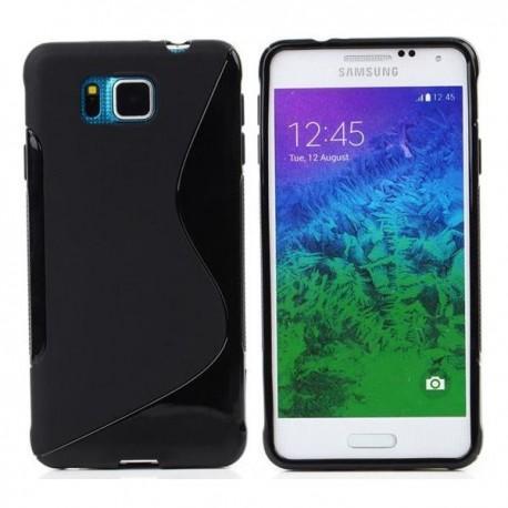 Silikon etui za Samsung Galaxy Alpha +Folija ekrana Črna barva