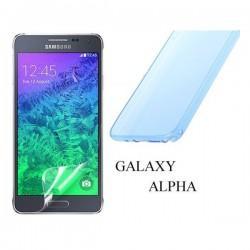 Silikon etui za Samsung Galaxy Alpha +Folija ekrana TPU 0,3mm Transparent-Modra barva