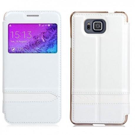 Torbica USAMS za Samsung Galaxy Alpha Preklopna S-View Bela barva