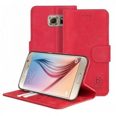 Preklopna Torbica za Samsung Galaxy S6 Bugatti Rdeča barva Usnjena