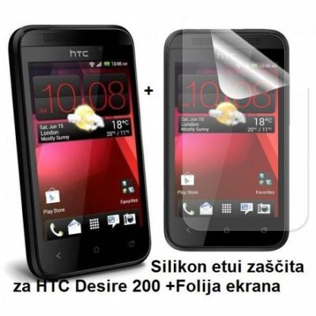 Silikon etui za HTC Desire 200 +Folija ekrana, transparentno temna