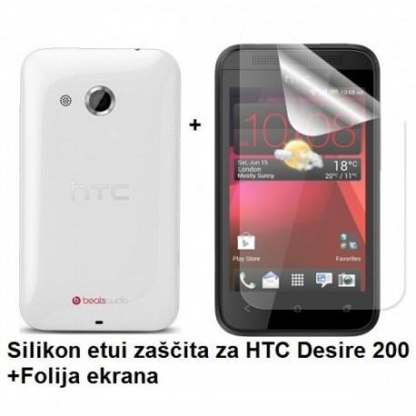 Silikon etui za HTC Desire 200 +Folija ekrana, transparentno svetla