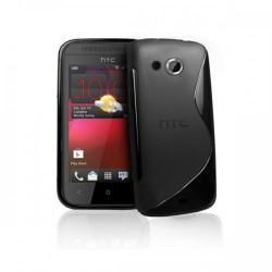 Silikon etui zaščita za HTC Desire 200 +zaščitna folija ,Črna barva