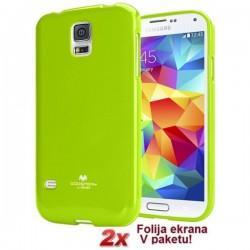 Silikon etui Goospery za Samsung Galaxy S5 + 2x Folija High-Quality ,Lime barva