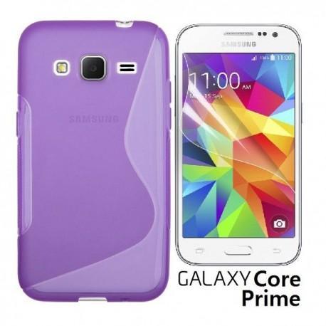 Silikon etui za Samsung Galaxy Core Prime +Folija ekrana Vijola barva