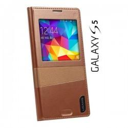Torbica USAMS za Samsung Galaxy S5 Window View Design Coffee Gold barva
