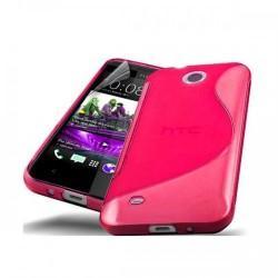 Silikon etui za HTC Desire 300 +zaščitna folija ,Pink barva