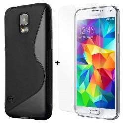 Silikon etui za Samsung Galaxy S5 +Kaljeno steklo Črna barva