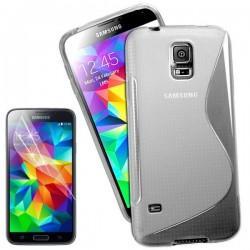 Silikon etui za Samsung Galaxy S5 Mini +Folija ekrana Clear barva