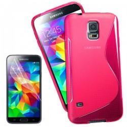 Silikon etui za Samsung Galaxy S5 Mini +Folija ekrana Pink barva