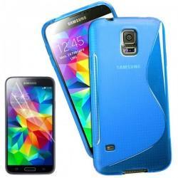 Silikon etui za Samsung Galaxy S5 Mini +Folija ekrana Modra barva